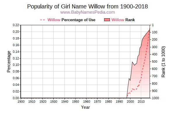 Popularity Trend  for Willow  from 1900 to 2018